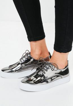 Silver Metallic Fringed Chunky Sole Trainers