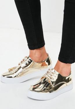 Gold Metallic Fringed Chunky Sole Trainers