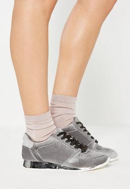 Grey Velvet Metallic Sole Sneakers