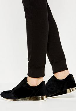Black Velvet Metallic Sole Sneakers