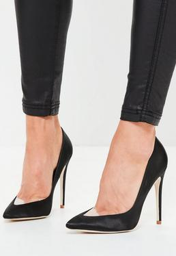 Black Clear Toe Pointed Court Shoes