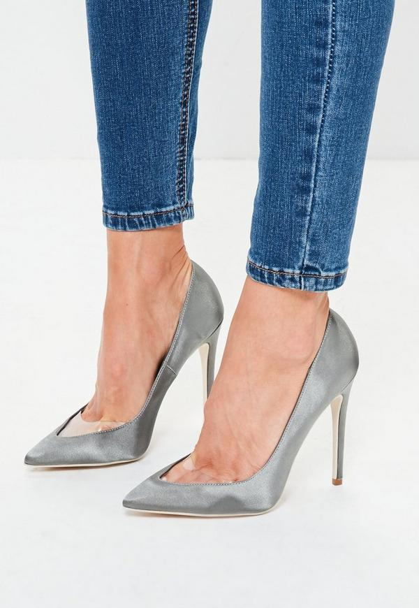 Grey Clear Toe Pointed Court Shoes