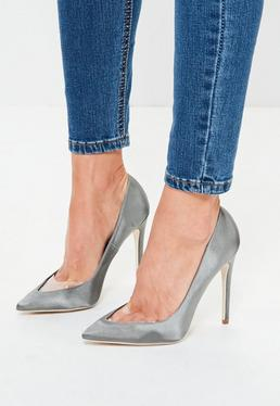 Grey Clear Toe Pointed Pumps