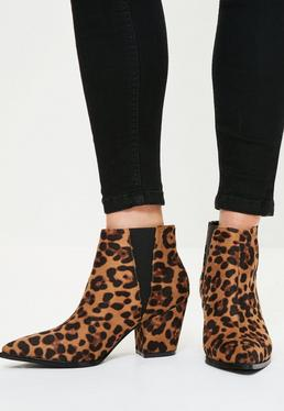 Brown Leopard Print Pointed Flat Ankle Boots