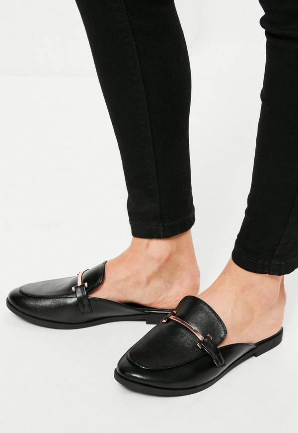 Black Metal Trim Flat Mules