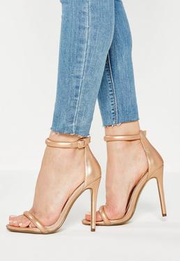 Sandales à talon dorées lanières fines