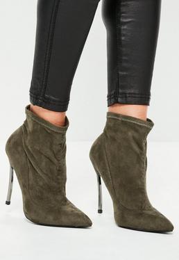 Hohe Spitze Ankle Boots Stiefeletten mit gekurvtem Metall-Absatz in Khaki