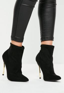Black Curved Metal Heel Ankle Boots