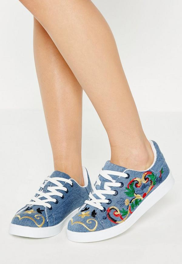 Blue Denim Embroidered Trainers