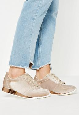 Nude Velvet Metallic Sole Trainers