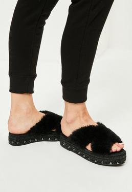 Black Faux Fur Cross Strap Studded Sliders