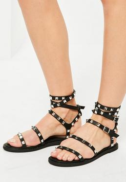 Black Studded Multi Strap Gladiator Sandals