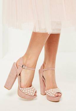 Pink Pearl Detail Platform Heels