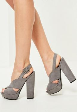 grey cross strap platform heeled sandals