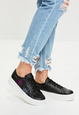 Schwarze Flatform Sneaker mit Glitter