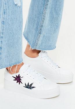 Sneaker-Schuhe mit Glitzer-Blatt Muster in Weiß