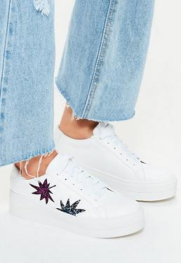 White Leaf Glittery Sneakers