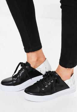 Black Marble Print Detail Trainers