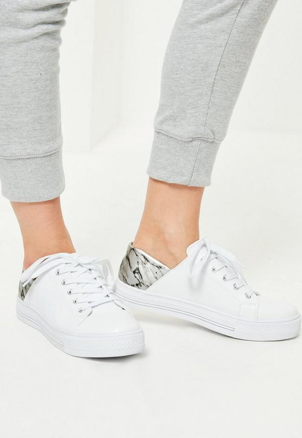 White Marble Print Detail Trainers