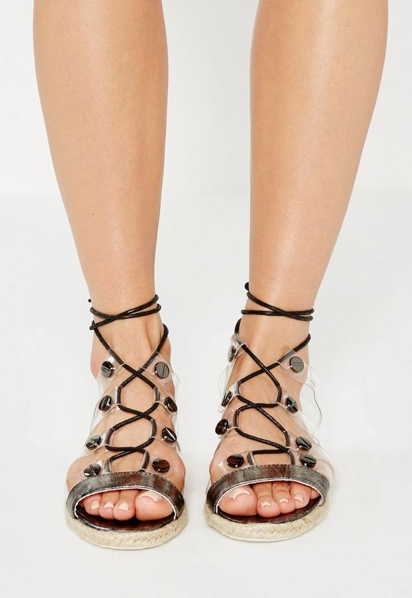 Black Transparent Straps Flat Sandals