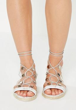 Srebrne sandały gladiatorki z transparentnymi paskami