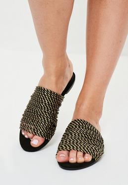 Gold Rope Flat Mule Sandals