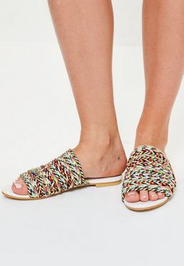 White Rope Details Flat Mule Sandals