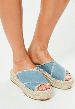 Blue Denim Cross Strap Flatform Mules