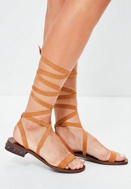 Brown Studded Heel Strap Flat Sandals