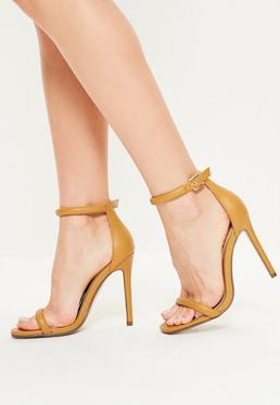 Yellow Rounded Strap Barely There Heels