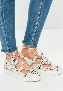 Beige Paint Splash Lace Up Flat Trainers