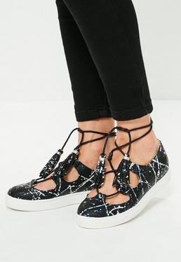 Black Paint Splash Lace Up Flat Sneakers