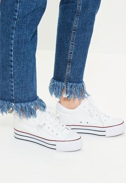 White Hidden Wedge Lace Up Sneakers