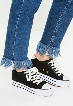 Black Hidden Wedge Lace Up Sneakers