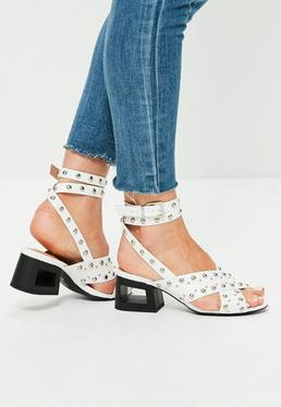 White Studded Cut Out Block Heel Sandals