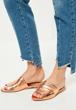 Rose Gold Peep Toe Slip On Mules