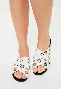White Eyelet Asymmetric Sandals