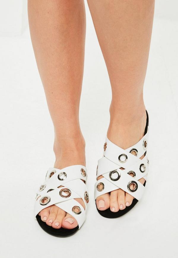 White Eyelet Asymmetric Sandals