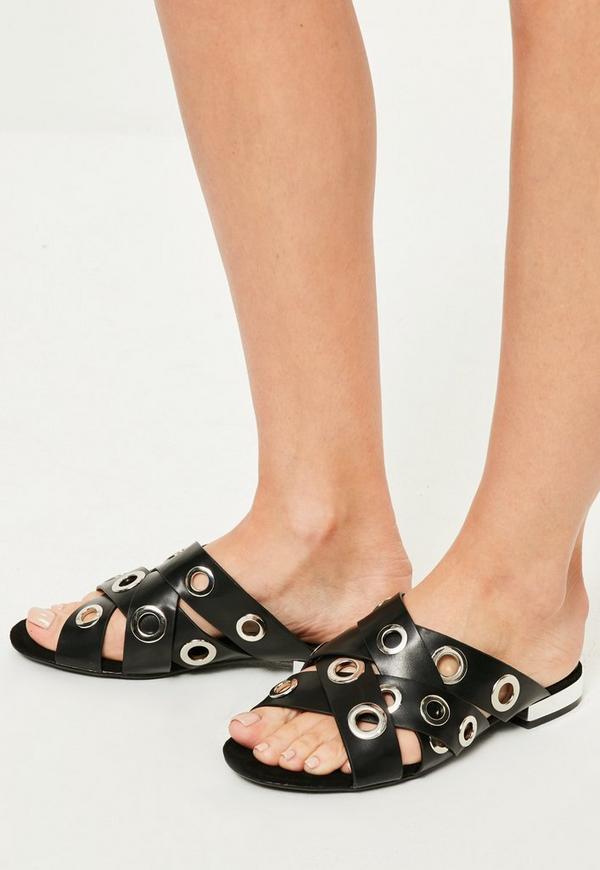Black Eyelet Asymmetric Sandals