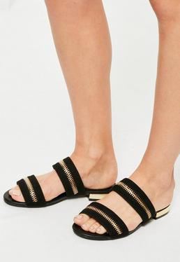 Black Zip Trim Sandals