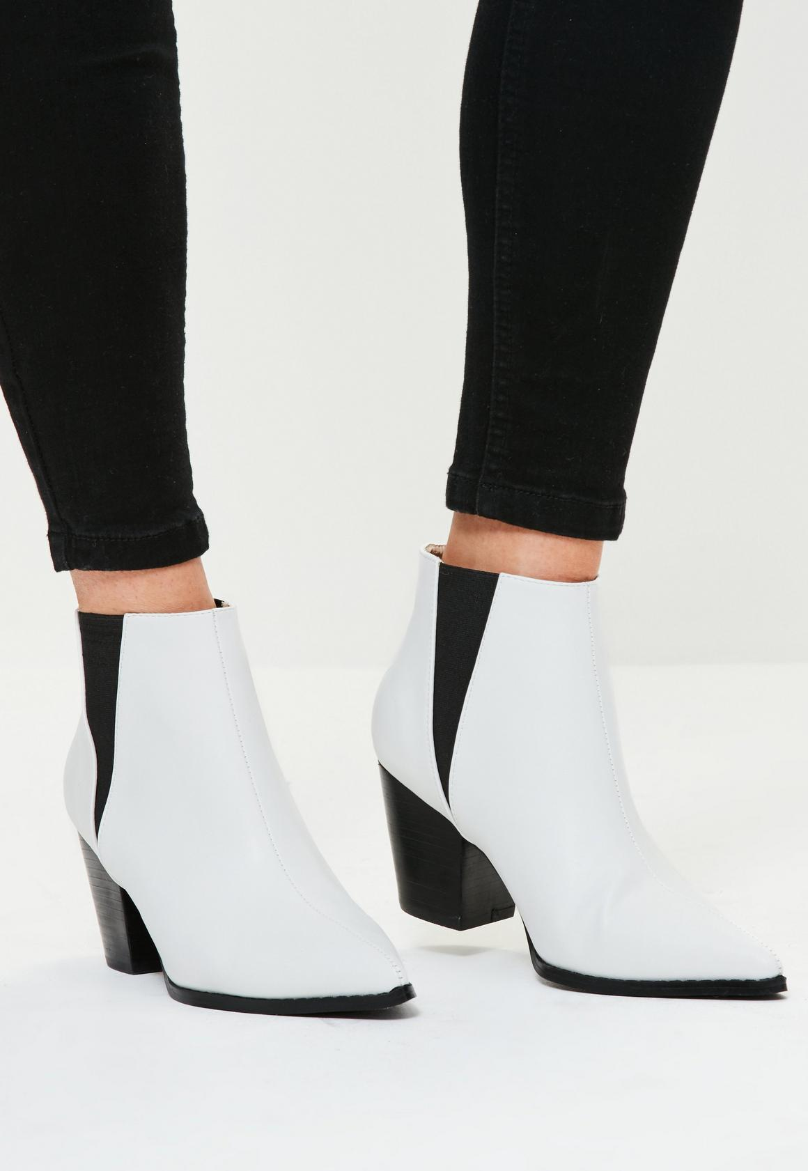 White Faux Leather Western Pointed Ankle Boots | Missguided