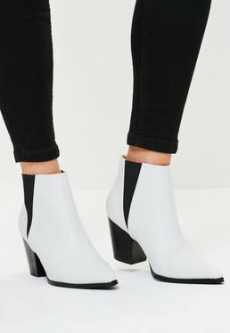 White Faux Leather Western Pointed Ankle Boots