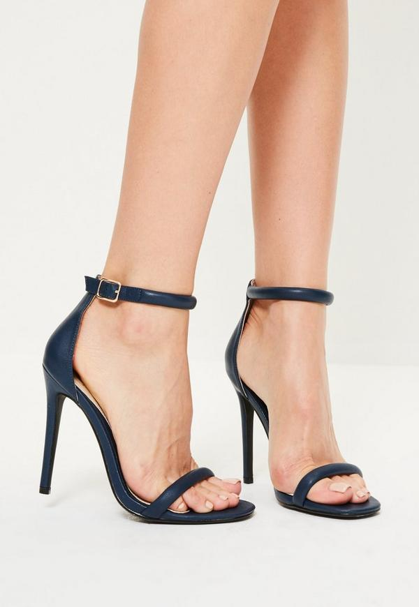 Navy Rounded Strap Barely There Heels