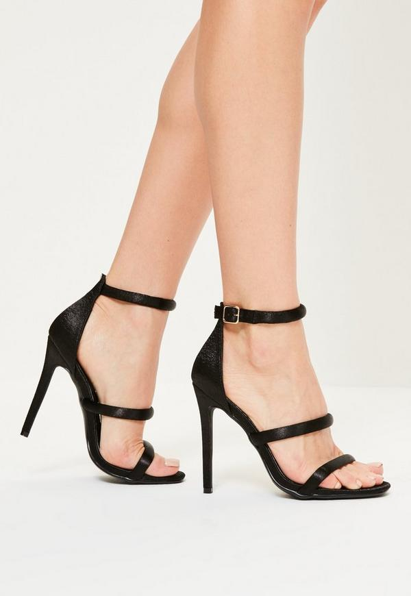 Black Satin Three Strap Barely There Heels