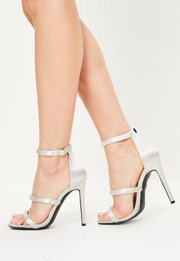White Satin Three Strap Barely There Heels
