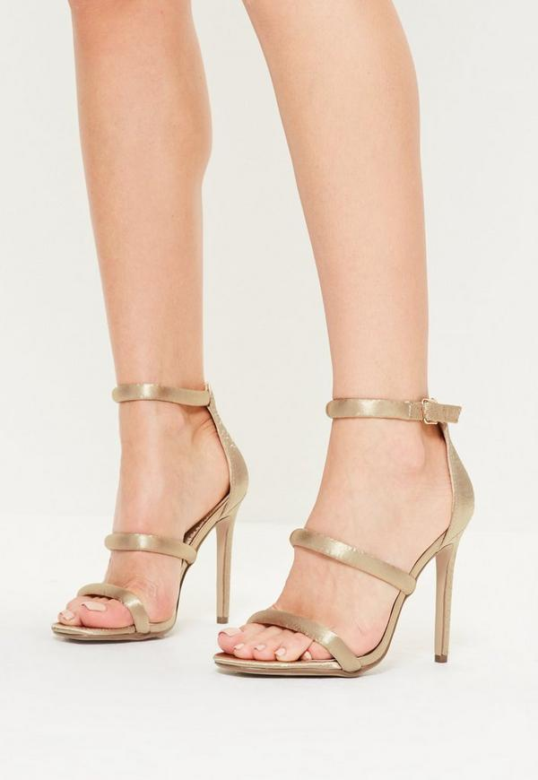 Nude Satin Three Strap Barely There Heels