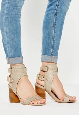 Cream Studded Buckle Back Heeled Sandals