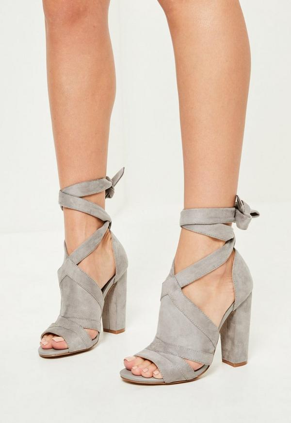 Grey Tie Detail Block Heeled Sandals