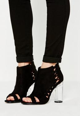 Black Whipstitch Clear Heel Ankle Boots