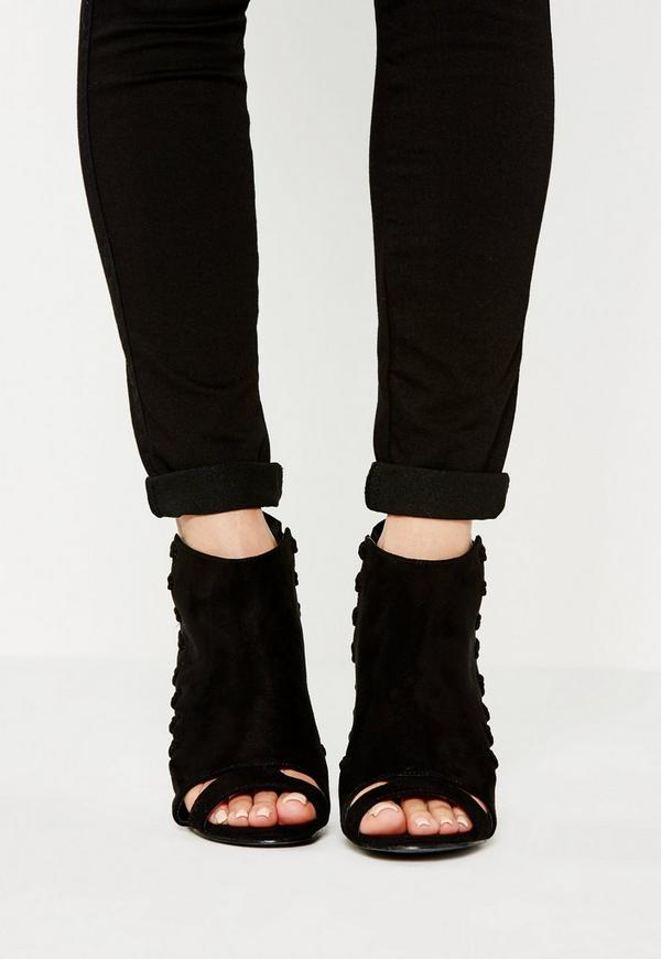 Black Whipstitch Clear Heel Ankle Boots - Missguided